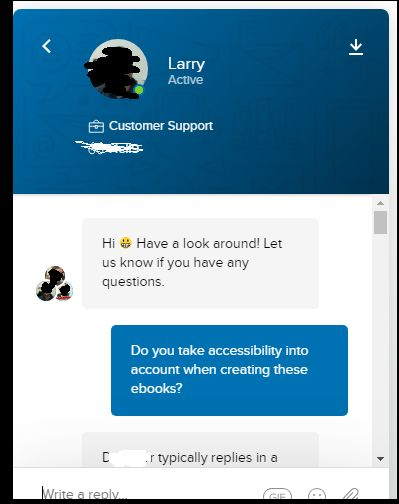 Instant messenger dialogue with customer support representative